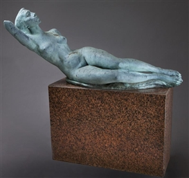 Artwork by Charles Umlauf, Reclining Nude, Made of bronze sculpture on rouge marble pedestal