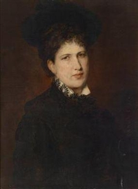 Artwork by Hans Canon, Portrait of a Woman in a Hat, Made of oil on canvas