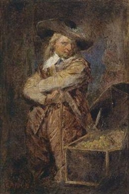 Hans Canon, A Man in Period Costume from the Time of Oliver Cromwell Standing Next to an Open Treasure Chest