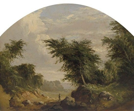 Artwork by Robert S. Duncanson, Untitled (Landscape), Made of Oil on paper board