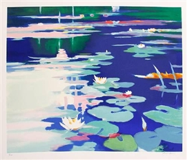 Artwork by Tadashi Asoma, Lillies Afloat, Made of Lithograph in colours