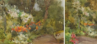 2 Works: HERBACEOUS BORDER WITH GARDEN BENCH ; WOODLAND PATH, KILMURRAY By Mildred Anne Butler