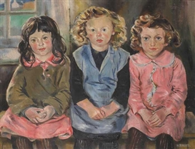 Artwork by Hilda Roberts, THREE ACHILL CHILDREN, Made of Oil on canvas