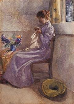 A WOMAN SEWING BY A WINDOW By Mildred Anne Butler