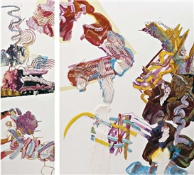 Artwork by Pia Fries, Oxana (diptych), Made of oil and screenprint on board