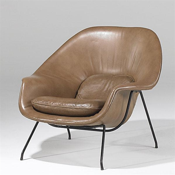 artwork by eero saarinen womb chair made of leather and enameled steel