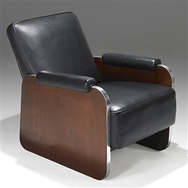 Artwork by Donald Deskey, lounge chair, Made of Leather, walnut and stainless steel
