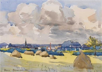 VIEW OF BALLYMONEY, COUNTY ANTRIM By Patric Stevenson ,1933