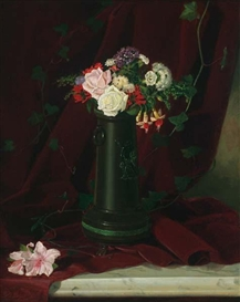 Lawrence Earle, Floral Still Life on a Marble Tabletop