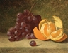 William Huston, Still Life with Orange and Grapes