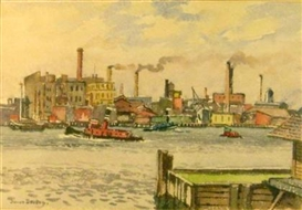 Artwork by Julius Delbos, BUSY HARBOR, Made of watercolor