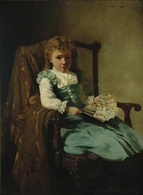 Artwork by Lawrence Earle, Young Girl with Fan, Made of Oil on panel