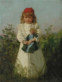 Artwork by Lawrence Earle, Young Girl with Doll, Made of Oil on panel