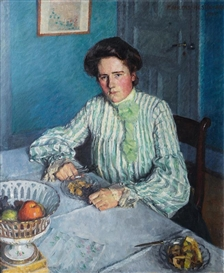 Artwork by Friedrich Ahlers-Hestermann, Gertrud, the Sister of the Artist at a table, Made of Oil on canvas