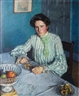 Friedrich Ahlers-Hestermann, Gertrud, the Sister of the Artist at a table