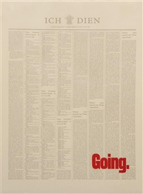 Artwork by Stuart Brisley, Untitled (Going), Made of type-set print