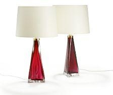 Fagerlund Carl A Pair Of Three Sided Table Lamps Of Red Glass