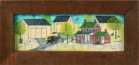 Artwork by Dolores Hackenberger, 3 works: Farm scenes, Made of oil on board