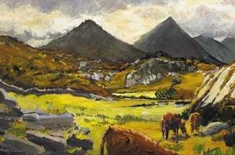 CATTLE GRAZING IN THE MOURNES By Patric Stevenson