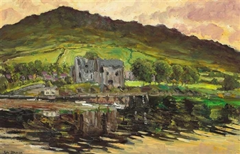 KING JOHN'S CASTLE AND SLIEVE FOY, CARLINGFORD By Patric Stevenson ,1968