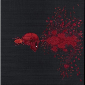 Artwork by Angelo Filomeno, Parasite, Made of embroidery on silk shantung stretched over linen with onyx and garnet