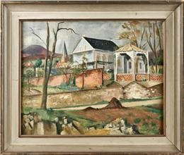 Artwork by Friedrich Ahlers-Hestermann, Diagonally structured landscape with house and pavilion, Made of oil on canvas