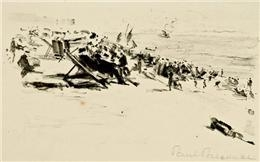 Artwork by Paul Paeschke, Vielfigurige beach scene, Made of lithograph