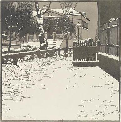 "Artwork by Carl Moll, ""Snow-covered Villa in Döbling"", Made of colour woodcut"