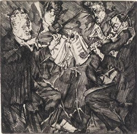 "Artwork by Max Oppenheimer, ""Rosé-Quartett"", Made of etching"