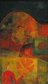 Artwork by René Brault, Personnage et arbre, Made of Oil on canvas