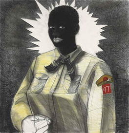 Artwork by Kerry James Marshall, Den Mother, Made of Acrylic and charcoal on paper