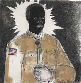 Artwork by Kerry James Marshall, Scout Master, Made of Acrylic and charcoal on paper