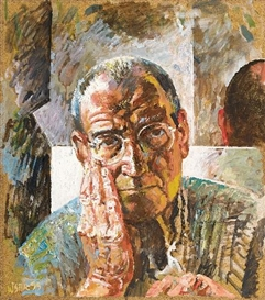 Artwork by Willi Sitte, Self-Portrait with Hand, Made of Oil on masonite