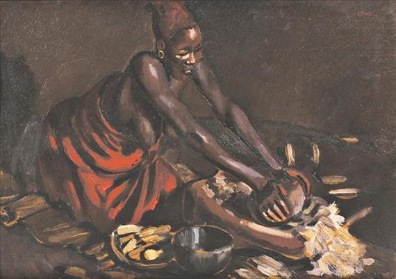 woman grinding