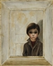 Margaret Keane, Portrait of sad child standing in front of white door