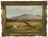 Arthur H. Twells, Landscape scene with mountains in background and three figures digging peat