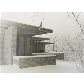 Artwork by Pedro Guerrero, Pair of Photographs of Frank Lloyd Wright's Clarence Sondern House, Kansas City, Missouri, Made of Silver gelatin prints in modern wooden frame
