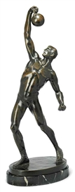 Artwork by Bruno Zach, The Athlete, Made of patinated bronze resting on marble plinth