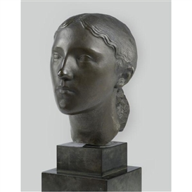 Artwork by Charles Despiau, Young Peasant Girl, Made of Pewter