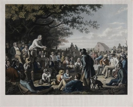 "Artwork by George Caleb Bingham, ""Stump Speaking"", Made of hand-colored engraving with mezzotint and gum arabic on paper"