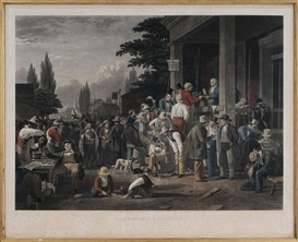 "Artwork by George Caleb Bingham, ""The Country Election"" by John Sartain, Made of hand-colored engraving with gum arabic on Chine-Collé paper"
