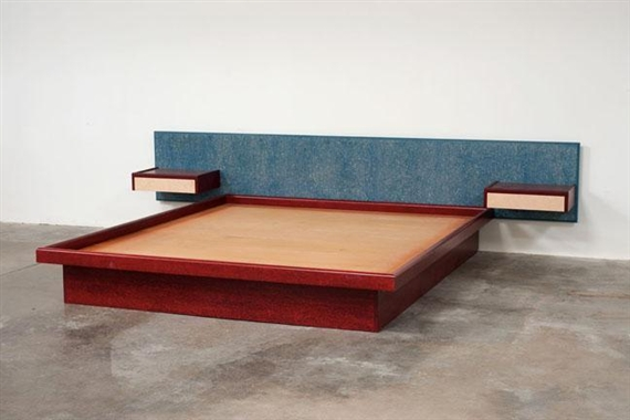 Sottsass Ettore Bed With Attached Cantilevered Side