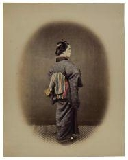 Artwork by Felice A. Beato, Aristocratic young lady, Circa 1868, Made of albumin ordeal, glass negative and watercolor laid on card