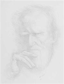 Artwork by Hilda Roberts, PORTRAIT OF GEORGE BERNARD SHAW, Made of pencil on paper