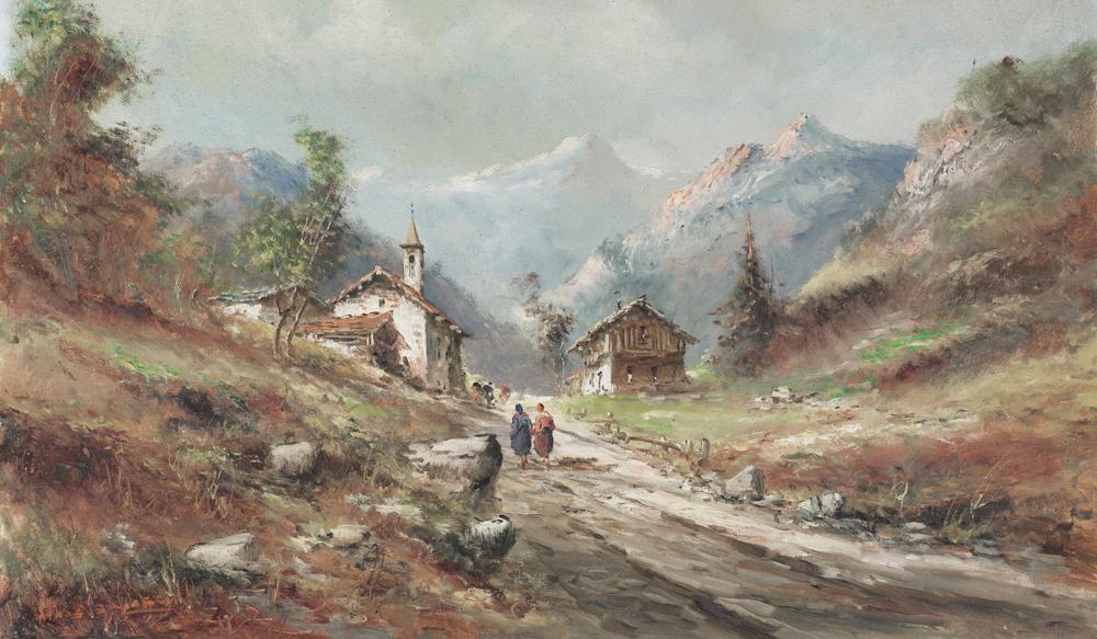 Athos brioschi paesaggio di montagna con baite e for Piccoli piani di baite