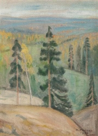 Artwork by Oskari Paatela, VIEW OF KOLI, Made of Oil on canvas