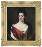 Sir Godfrey Kneller, Portrait of a lady, bust-length, in a white and red dress