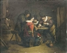 Dutch School, 18th Century, Gamblers in an interior