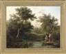 Edward Charles Williams, A wooded river landscape with figures fishing