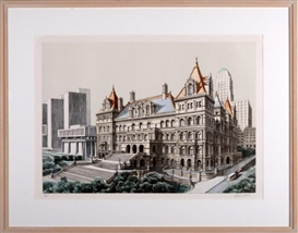 "Artwork by Richard Haas, ""State Capital, Albany"", Made of Lithograph in color"